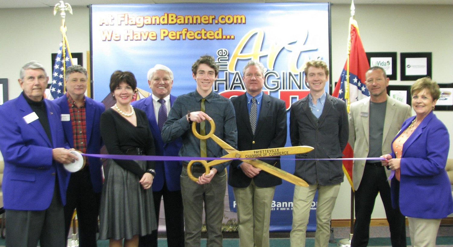 Fayetteville, Ark., Chamber of Commerce hosts FlagandBanner.com ribbon cutting on April 11, 2013.